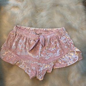 VS crushed velvet shorts